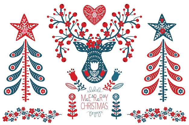 Conjunto de elementos de diseño de navidad escandinavo