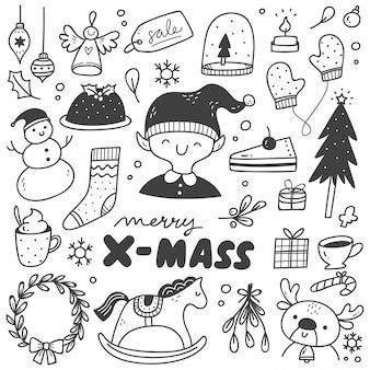 Conjunto de elementos de diseño de navidad en estilo doodle
