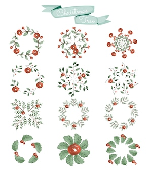 Conjunto de elementos de diseño navideño en estilo acuarela.