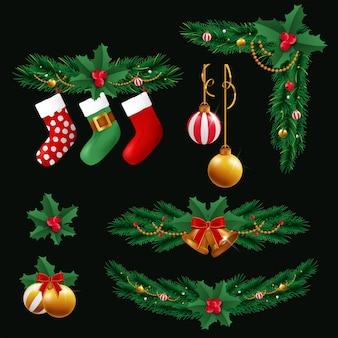 Conjunto de elementos de diseño navideño