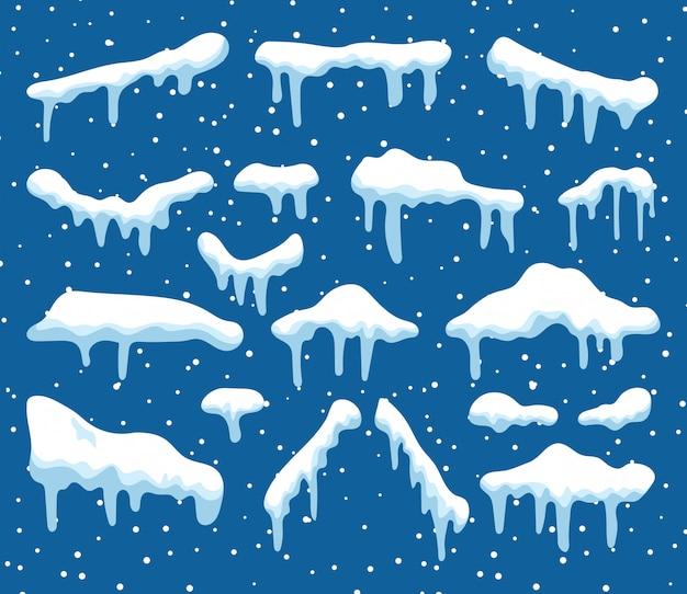 Conjunto de elementos de diseño de nieve de dibujos animados