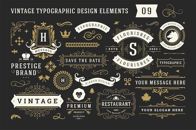 Conjunto de elementos de diseño de ornamento decorativo tipográfico vintage