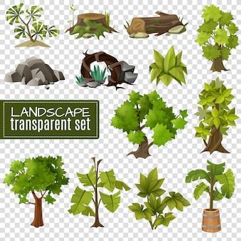Conjunto de elementos de diseño de paisaje de fondo transparente
