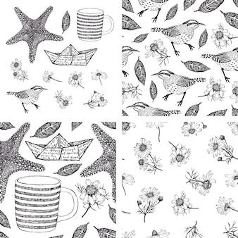 Conjunto de elementos de diseño y patrones dibujados a mano con camomiles, pájaros y estrellas de mar