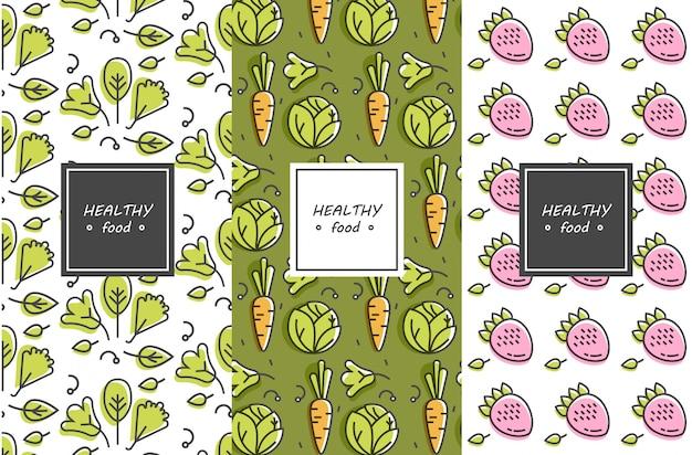 Conjunto de elementos de diseño, patrones y fondos para envases de alimentos orgánicos, saludables y veganos - etiquetas verdes