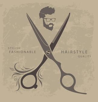 Conjunto de elementos de diseño de peluquería con hombre barbudo.