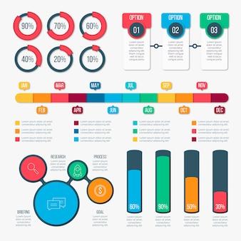 Conjunto de elementos de diseño plano infografía