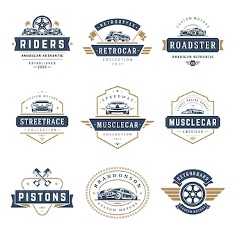 Conjunto de elementos de diseño de plantillas de logotipos de coches