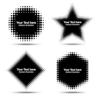 Conjunto de elementos de diseño de semitono abstracto