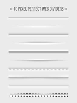 Conjunto de elementos de diseño de separadores web horizontales. marco y encuadernador. ilustración vectorial