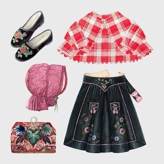 Conjunto de elementos de diseño de traje de vector de moda de mujer antigua, remezclado de colección de dominio público