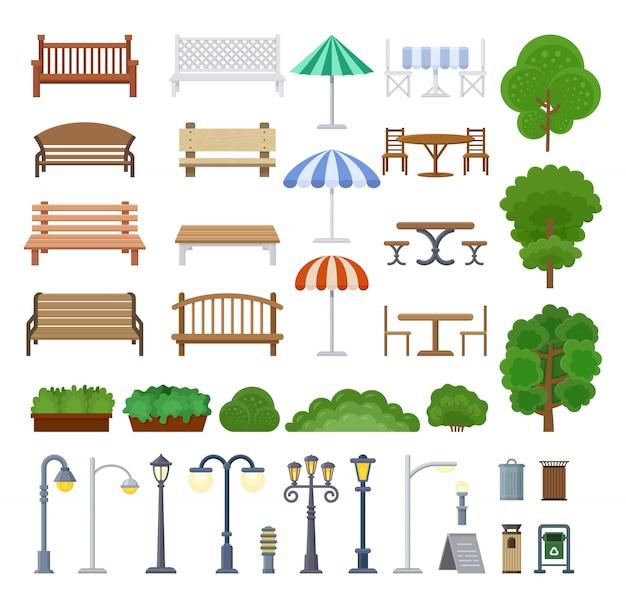 Conjunto de elementos de diseño urbano y callejero en estilo plano