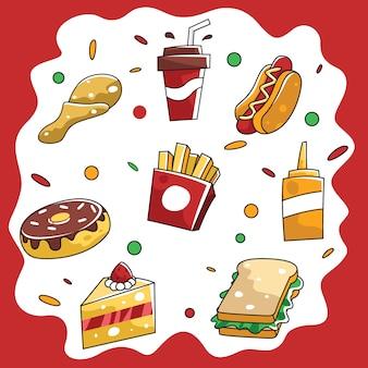 Conjunto de elementos de diseño de vectores de comida rápida
