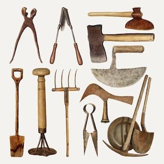 Conjunto de elementos de diseño vectorial de herramientas de jardinería antiguas, remezclado de la colección de dominio público
