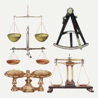 Conjunto de elementos de diseño vectorial de herramientas de medición antiguas, remezclado de la colección de dominio público