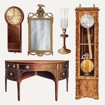 Conjunto de elementos de diseño vectorial de muebles y decoración antiguos, remezclado de la colección de dominio público