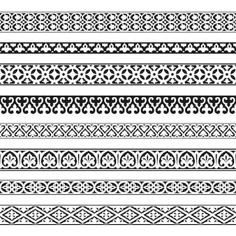 Conjunto de elementos de diseño vintage de fronteras sin costuras decorativas