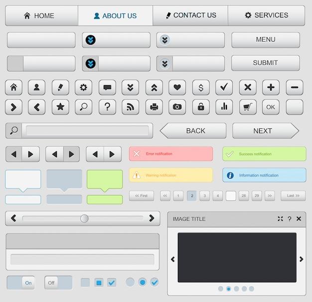 Conjunto de elementos de diseño web. blanco