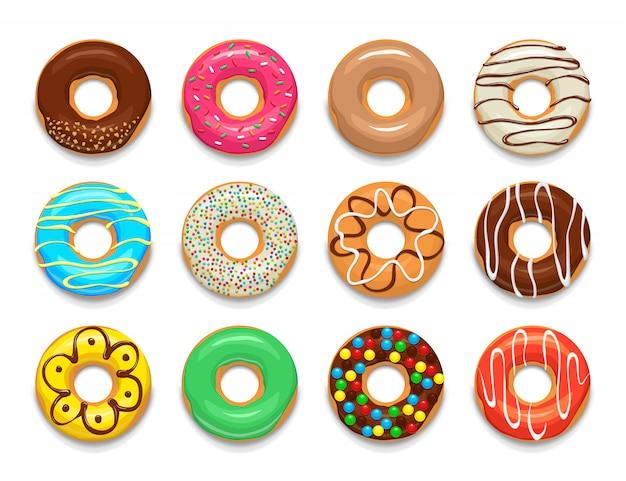 Conjunto de elementos de donuts, estilo de dibujos animados