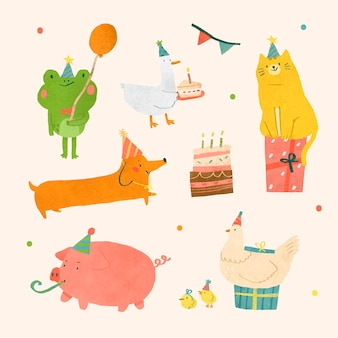 Conjunto de elementos de doodle de animales festivos
