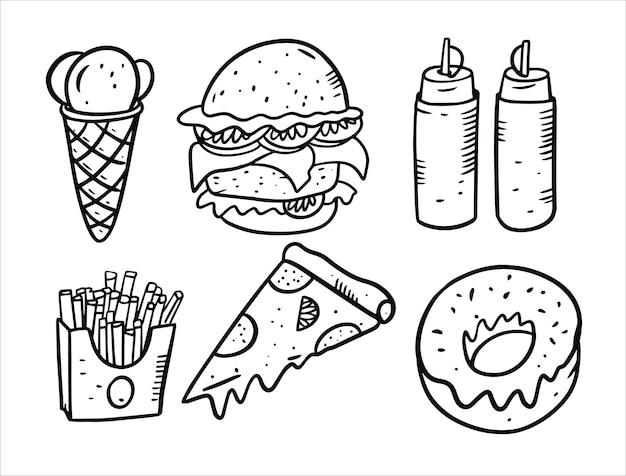 Conjunto de elementos de doodle de comida aislado en blanco