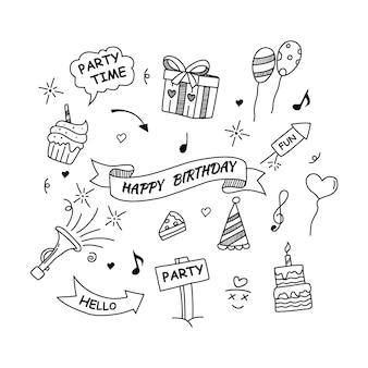 Conjunto de elementos de doodle de feliz cumpleaños aislado sobre fondo blanco ilustración vectorial