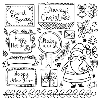 Conjunto de elementos de doodle de navidad, año nuevo e invierno dibujados a mano lindo aislado