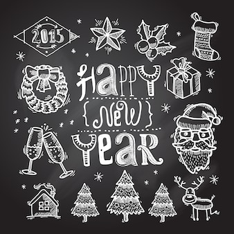 Conjunto de elementos de doodle de navidad pizarra