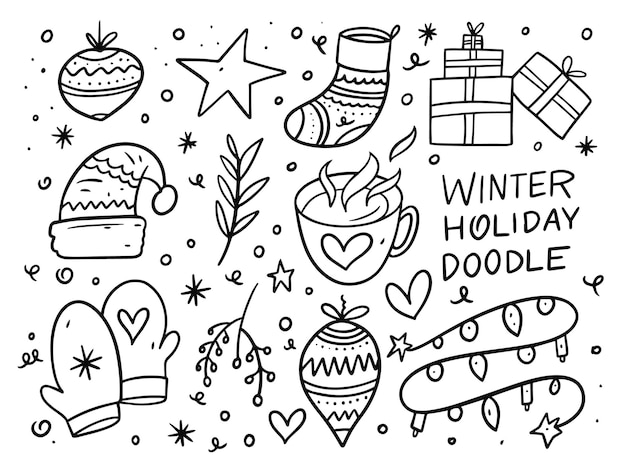 Conjunto de elementos de doodle de vacaciones de navidad. de tinta negro. aislado sobre fondo blanco.