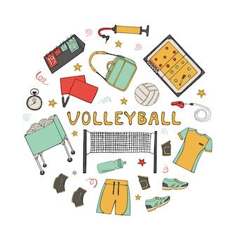 Conjunto de elementos de doodle de voleibol