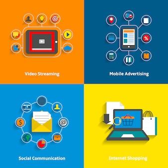 Conjunto de elementos de e-commerce.