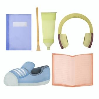 Conjunto de elementos educativos de acuarela.