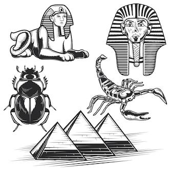 Conjunto de elementos egipcios.