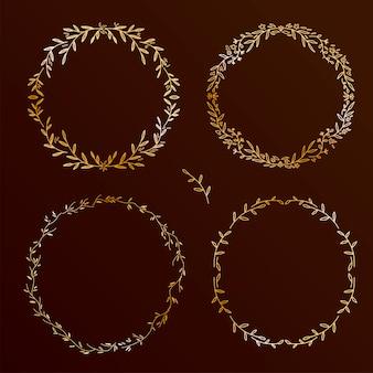 Conjunto de elementos elegantes dibujados a mano. colección de coronas florales, colección de marcos redondos en negro