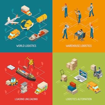 Conjunto de elementos y elementos isométricos de concepto de logística