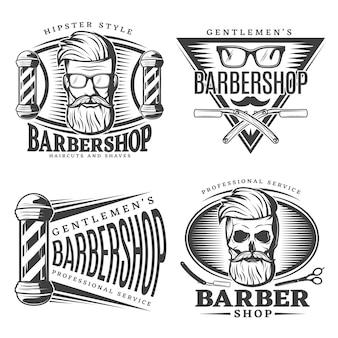 Conjunto de elementos de emblemas de barbería