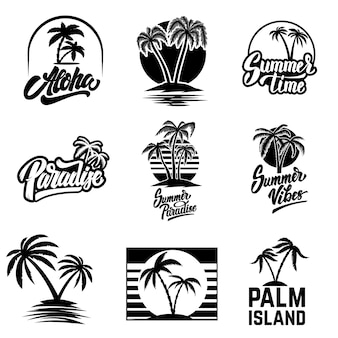 Conjunto de elementos y emblemas de verano. elemento de diseño de logotipo, etiqueta, cartel, impresión, tarjeta, banner, letrero. imagen