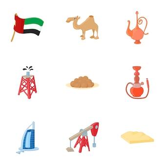 Conjunto de elementos de emiratos árabes unidos, estilo de dibujos animados