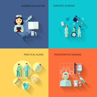 Conjunto de elementos enfermera plana