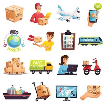 Conjunto de elementos de entrega de envío en todo el mundo
