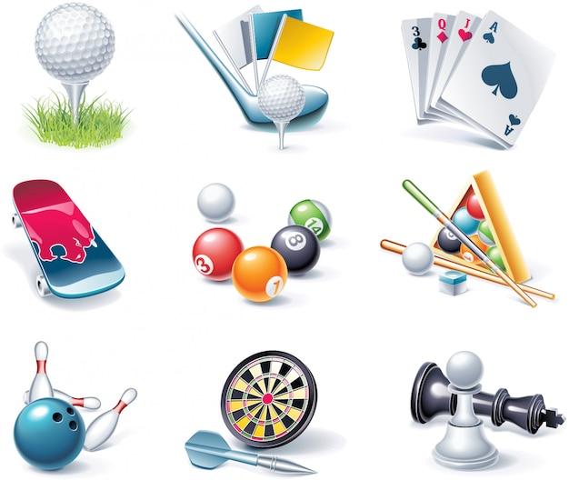 Conjunto de elementos de entretenimiento deportivo realista