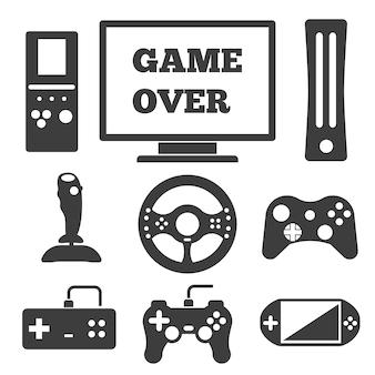 Conjunto de elementos de entretenimiento de videojuegos.