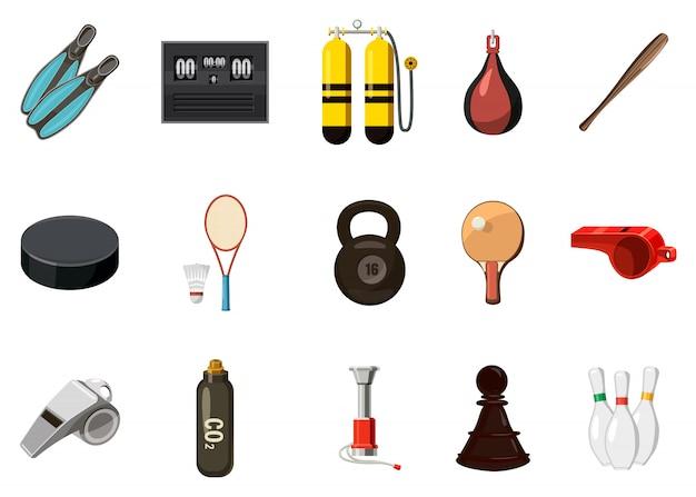 Conjunto de elementos de equipamiento deportivo. conjunto de dibujos animados de equipamiento deportivo
