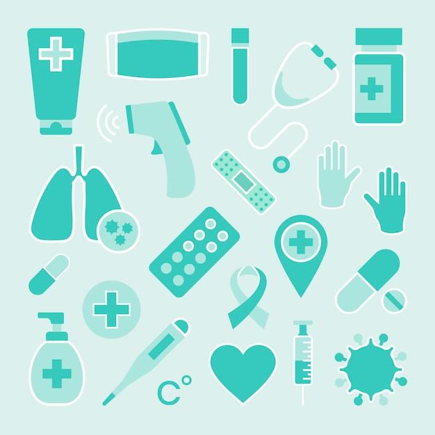 Conjunto de elementos de equipo médico de coronavirus