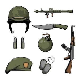 Conjunto de elementos de equipo militar y vector.