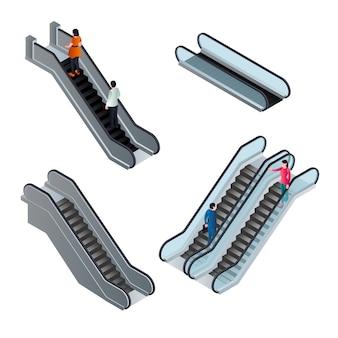 Conjunto de elementos de escaleras mecánicas, estilo isométrico