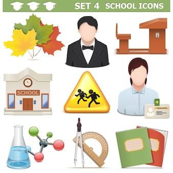 Conjunto de elementos escolares aislado en blanco