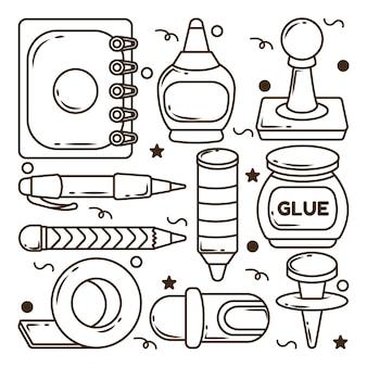 Conjunto de elementos escolares kawaii dibujados a mano dibujos animados doodle paquete para colorear