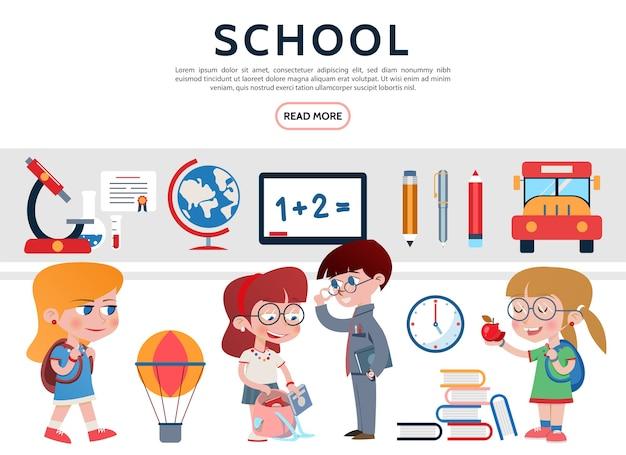 Conjunto de elementos escolares planos