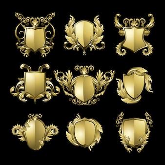 Conjunto de elementos de escudo barroco dorado.